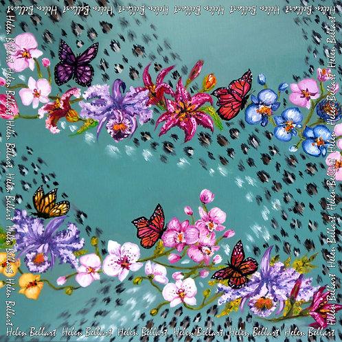 Blue Spring silk scarf 110x110 cm