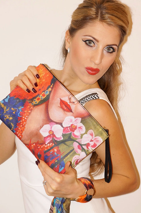 Tropical girl clutch bag & silk bracelet