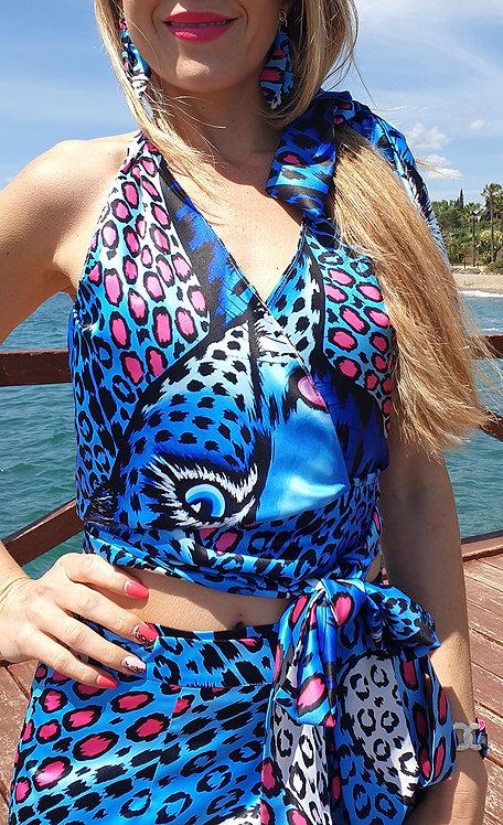 Top de leopardo azul