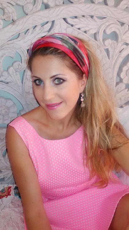 Pink flower silk scarf 210x25 cm