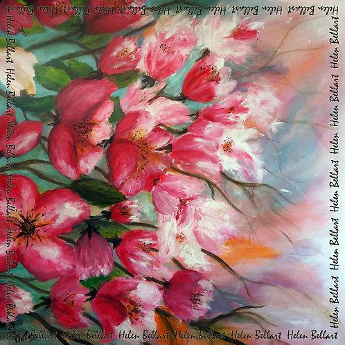 Blooming cherry tree silk scarf 110x110 cm