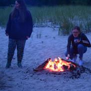 Roasting marshmallows on the beach