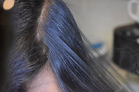 Client's clean dry scalp after her head spa