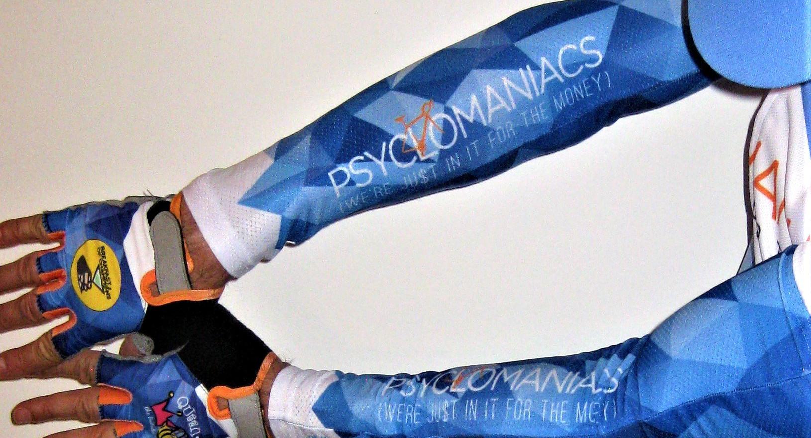 Custom arm coolers |Custom UV performance sleeves | UV performance sleeves | Custom Sun Sleeves | Custom Cycling Arm Warmers | Custom Arm Warmers | Arm Warmers | Custom cycling sleeves | RAGBRAI | Bike MS