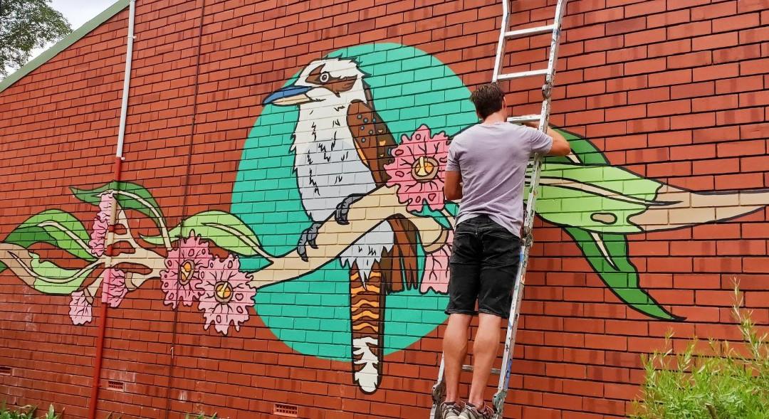 Kookaburra and Flowering Gums
