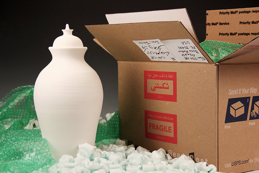 Fragile, Please Handle with Care  Ceramic Vessels, Packaging Materials, Video, and Performance, Raheleh Filsoofi