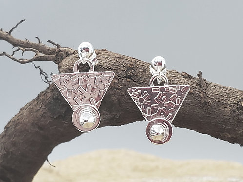 Pretty Petites Earrings, Triangle, Circles and Pyramids