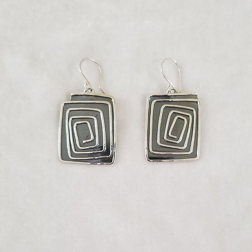Swirls, Rectangle Earrings, Large