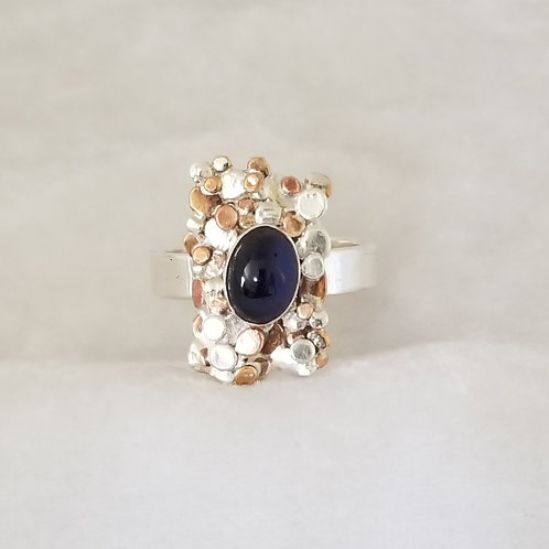 Stepping Stones Signet Ring with Iolite, Size 8.5