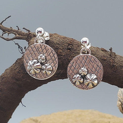 Pretty Petites Earrings, Circle with Flowers