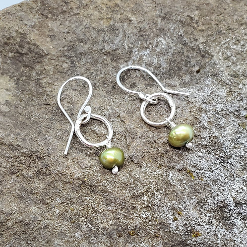 Color Drop Earrings with Olive Green Fresh Water Pearl Drops