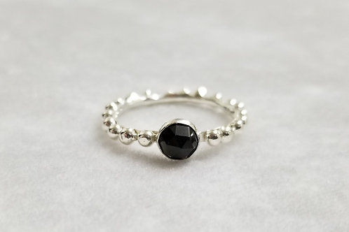 Tiny Bubbles, Black Spinel Ring, Size 10