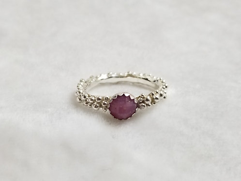 Tiny Bubbles, Pink Saphire Ring, Size 8.5