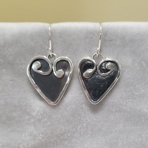 Sterling Silver Swirl Hearts with Charcoal Patina, Large