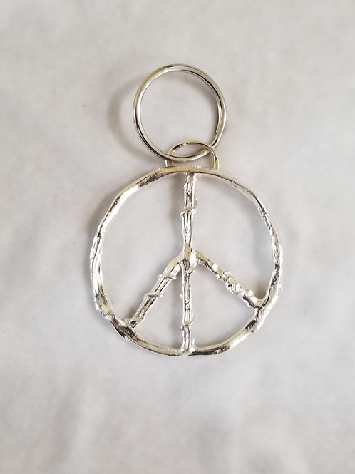 Sterling Silver Peace Sign Key Chain, Large