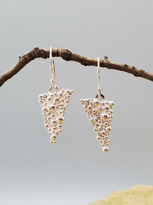 Tiny Bubbles, Elongated Triangle Earrings