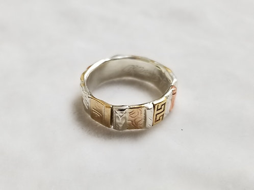 Gotham Sterling Silver & Gold Filled Ring, Size 9.5