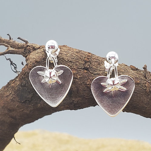 Pretty Petites Earrings, Hearts with Tiny Flower and Spray