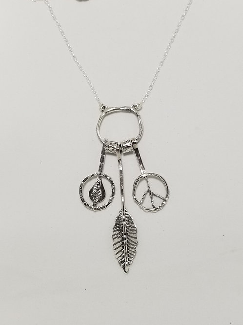 Charms Long Pendant with Leaves and Peace Sign