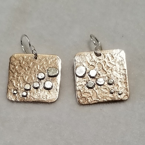 Simply Etched, Sterling & Bronze Earrings