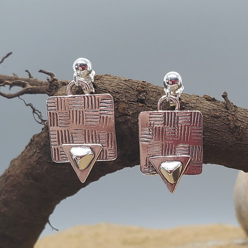 Pretty Petites Earrings, Squares with Double Triangles