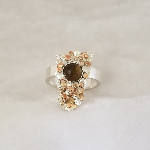 Stepping Stones, Mixed Metals Ring with Smokey Quartz, Size 7