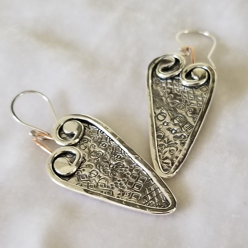 Swirly Hearts, Long Earrings with Hammered Background, Pair #2