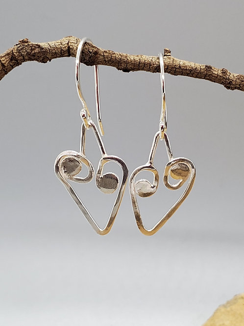 Little Heart with Circle Curls Earrings