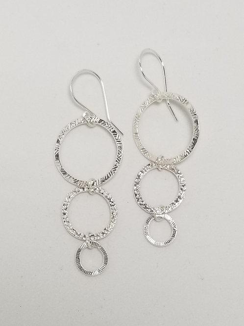 Hammered Textures Sterling Silver Hoop Earrings