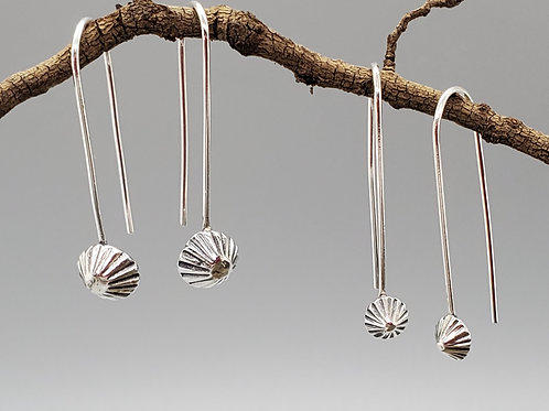 Delica Drop Earrings, Fluted Pyramids