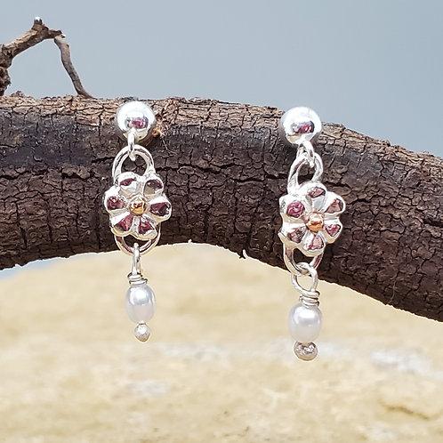 Sterling Silver Flower Earrings with Pearl Dangles