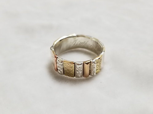 Gotham Sterling Silver & Gold Filled Ring, Size 9