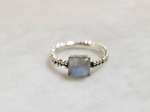 Tiny Bubbles Ring with Silver Moonstone, Size 11