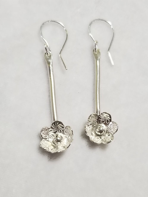 Wild Flower Earrings, Long Stem