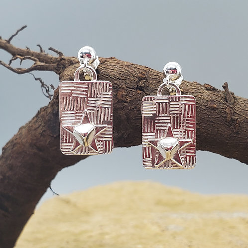 Pretty Petites Earrings, Rectangle with Star and Triangle