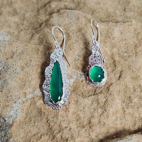 Minty Green Chalcedony, Asymmetrical Earrings