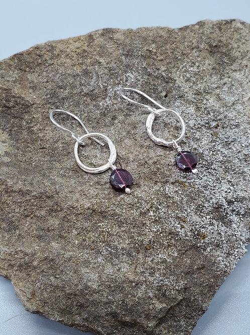 Color Drops Earrings with Garnet Dangles