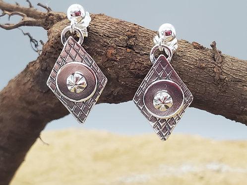 Pretty Petites Earrings, Diamond & Circle with Tiny Flower