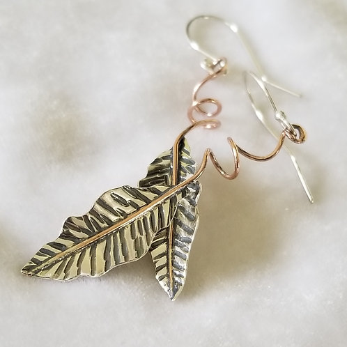 Wild Leaves, Large Leaf Earrings with Swirly Stem