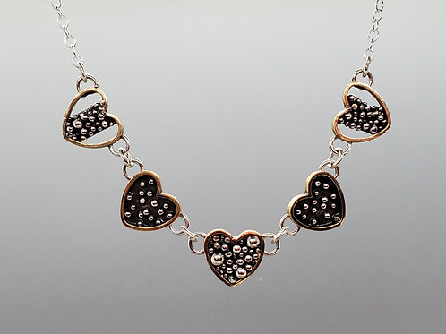 Bohemia, Five Hearts Collar Necklace