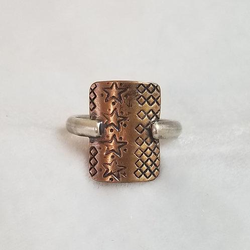 Bronze Shield Ring, Size 7.5