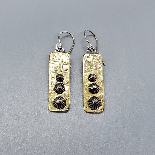 Etched Brass and Silver Pyramid Earrings