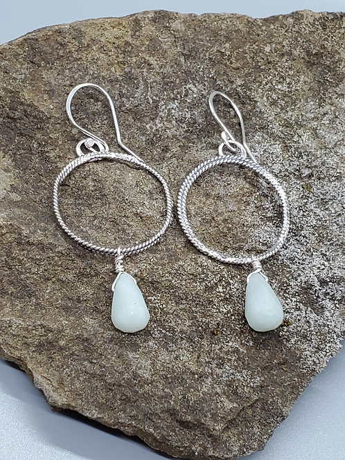 Color Drop Earrings with Rose Cut, Pale Blue Green Chalcedony Drops