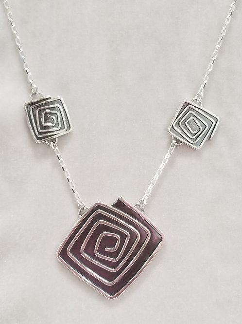 Swirls, Three Squares Necklace