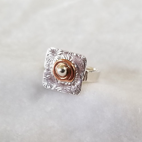 Mixed Metals Square Ring with Copper Swirl, Size 6