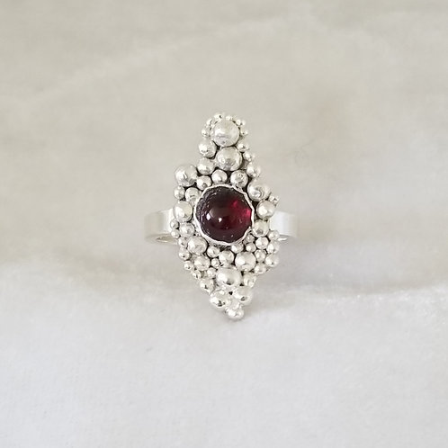 Tiny Bubbles Signet Ring with Garnet, Size 6.5