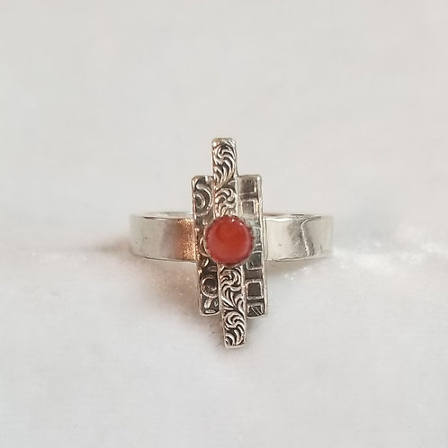 Coral & Sterling Sticks Ring, Size 6.5