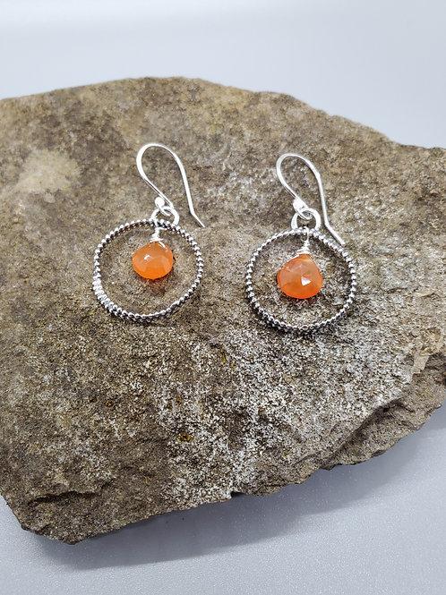 Color Drop Earrings, With Carnelian Drops