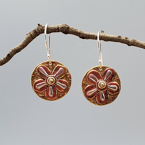 Flower Earrings, Mixed Metals