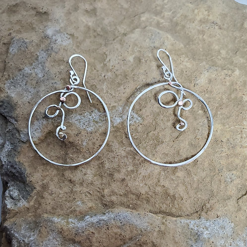 Tangles Earrings, Sterling Silver & Mixed Metals